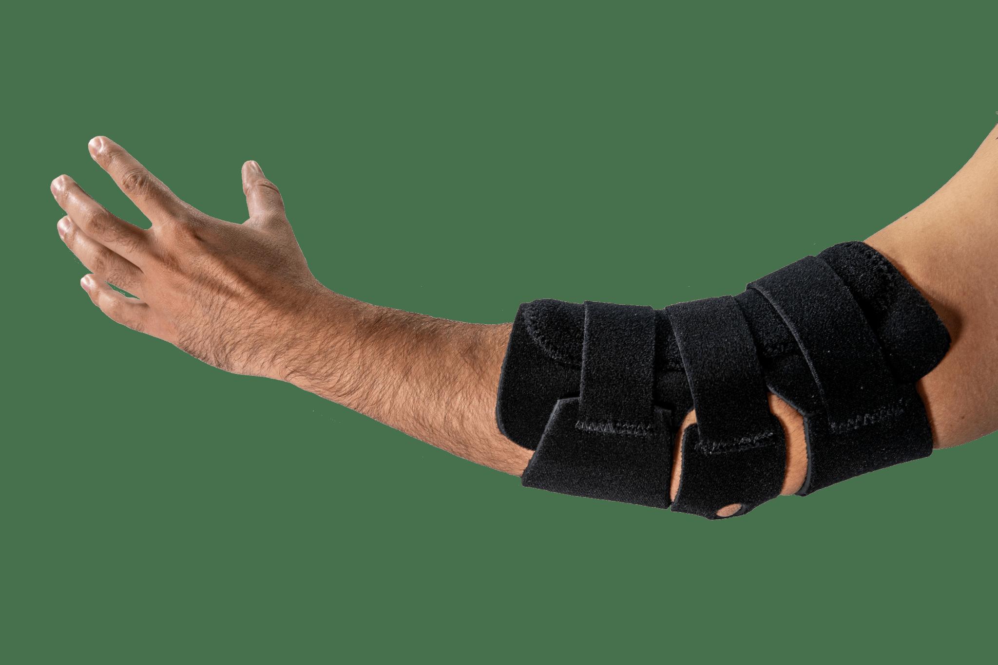 An elbow orthotic on an arm.