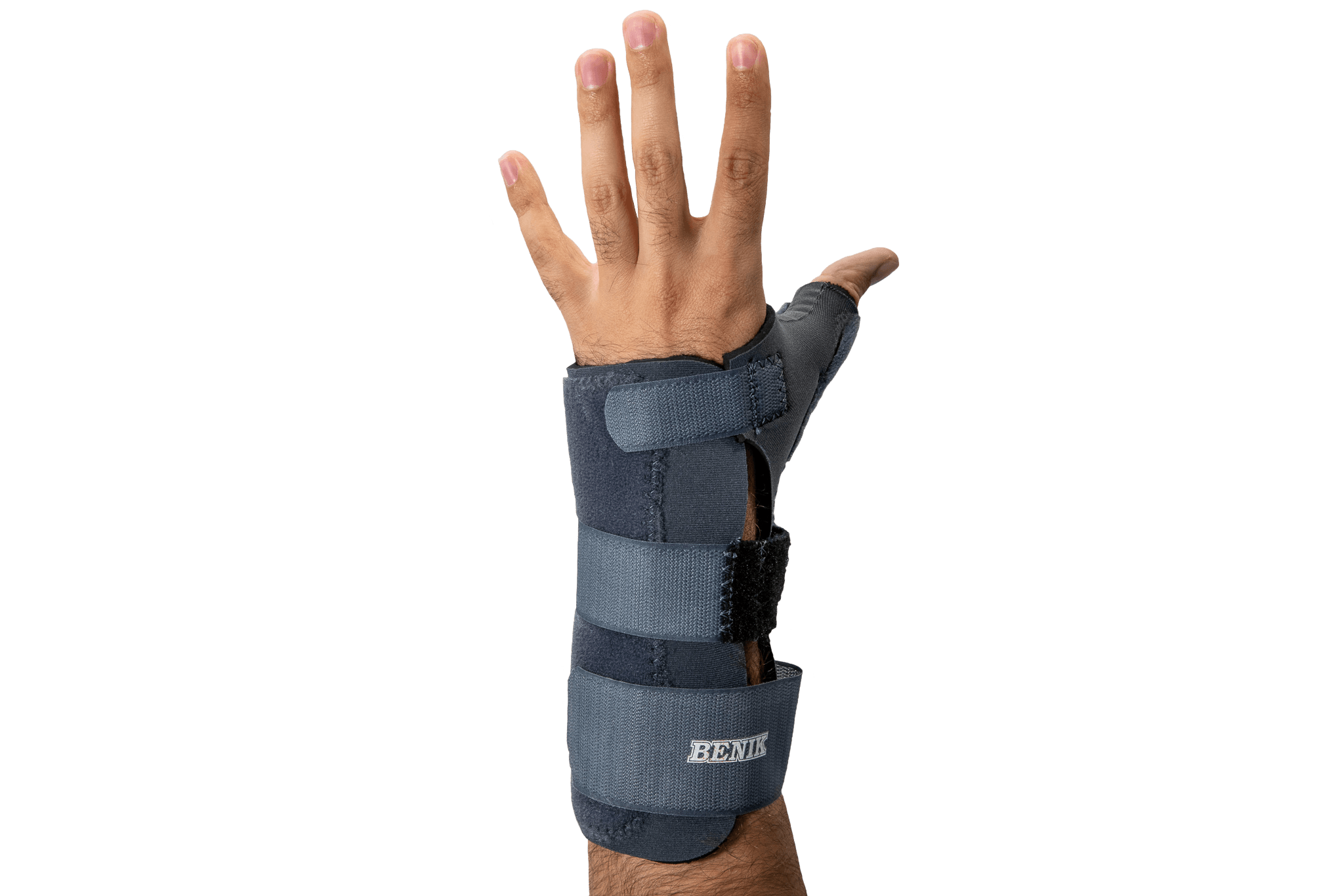 A wrist hand orthotic on someones hand.