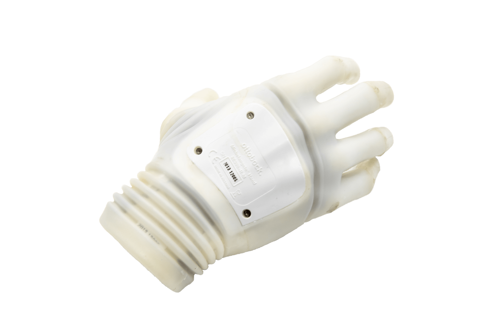 The side view of a prosthetic hand.