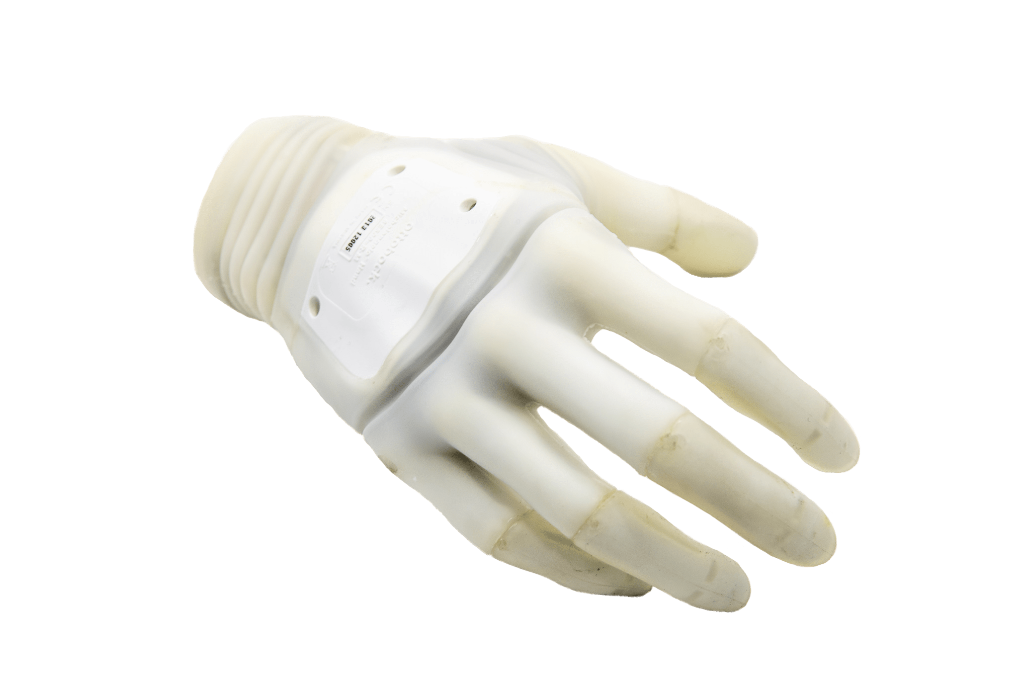 A top view of a prosthetic hand.